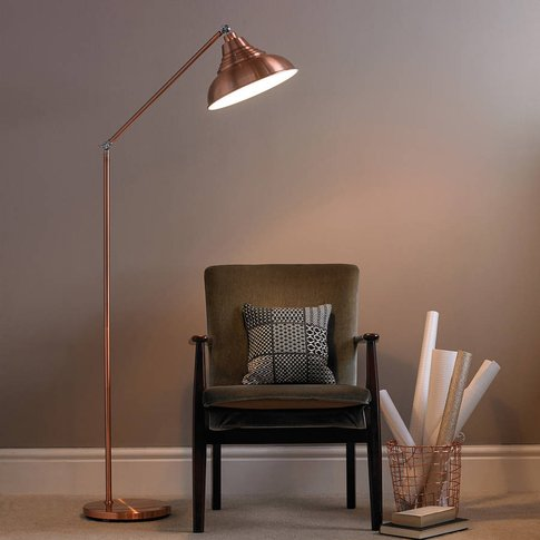 Copper Vintage Metal Floor Lamp, Copper/Grey/Cream