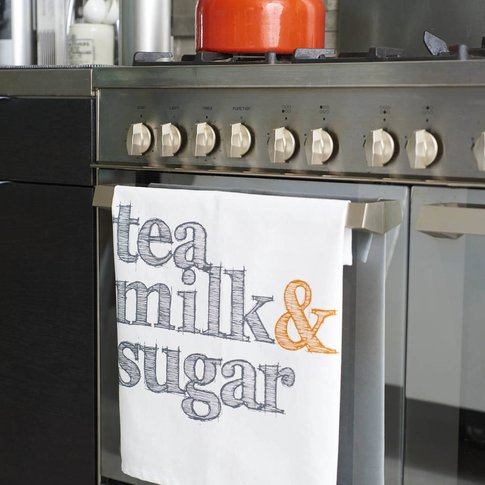 Tea Milk And Sugar Tea Towel