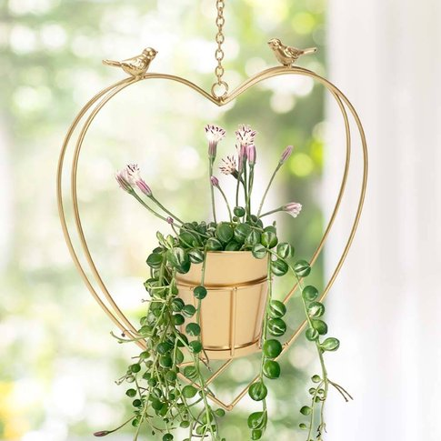 Contemporary Hanging Heart Planter With Birds