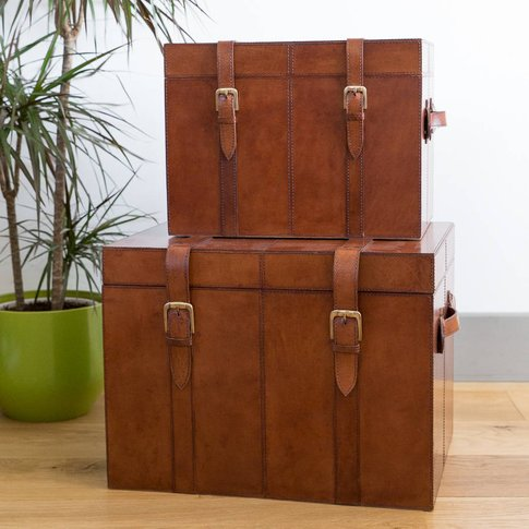Personalised Leather Storage Trunks Two Colours, Tan...