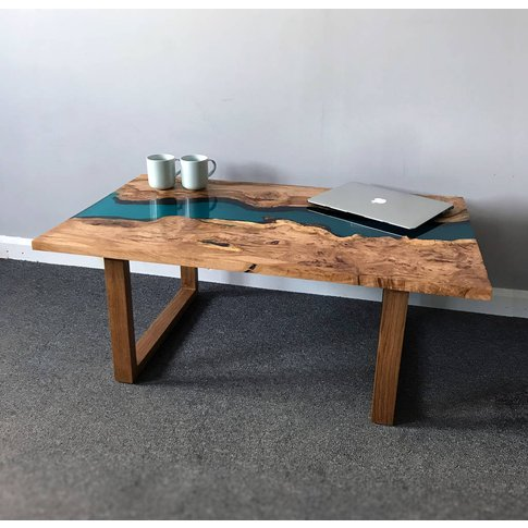 Resin River Coffee Table With Wooden Legs