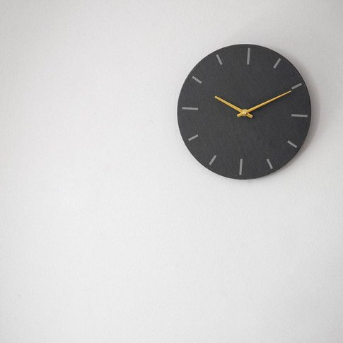 Slate And Brass Wall Clock