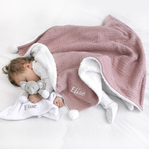 Personalised Dusty Pink Cable Blanket And Comforter Set