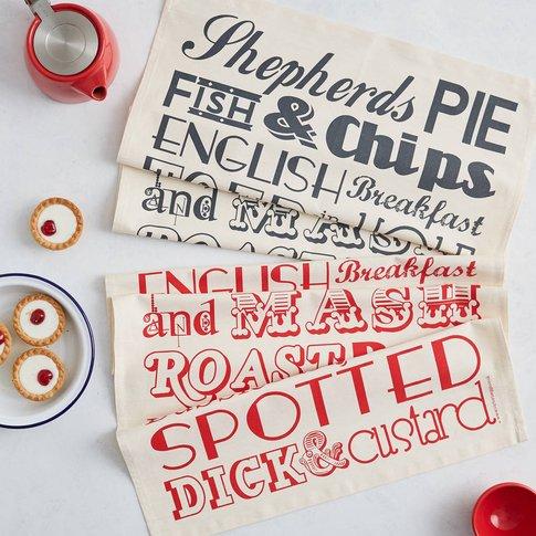 English Dinner Tea Towel, Charcoal/Red