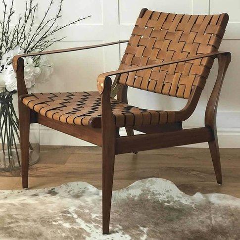 Woven Tan Leather Vegetal Armchair