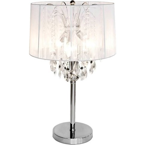 Crystal Chandelier Table Lamp, Silver/White/Black