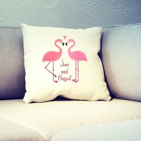 Personalised Flamingo Couple Cushion Cover