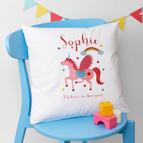 Girls Personalised Unicorn Cushion