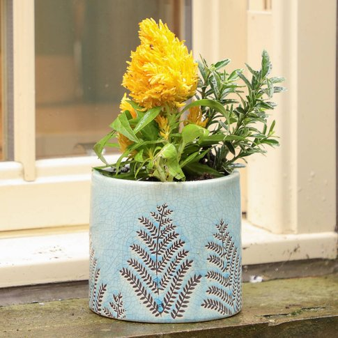 Skyline Blue Fern Ceramic Plant Pot