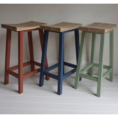 Scandi Stool Hand Painted In Any Colour, Blue/Green/...