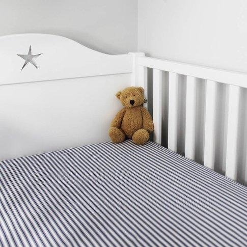 Navy Stripe Fitted Sheet Cot Bed And Single