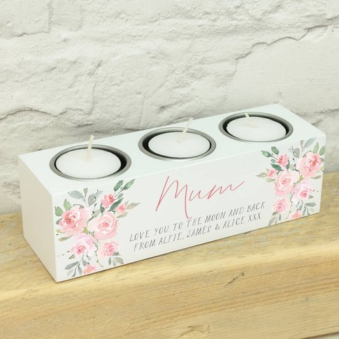 Personalised Watercolour Rose Triple Candle Holder
