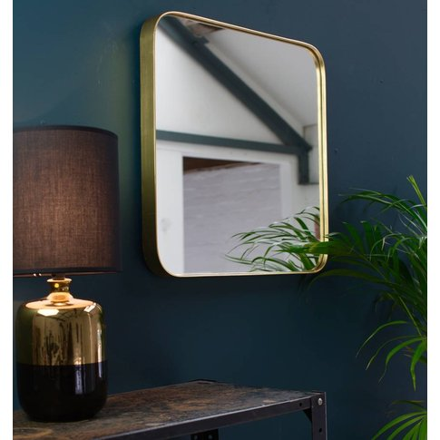 Square, Deep Edged Mirror In Gold