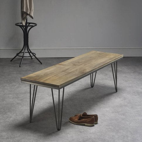 Solid Maple Bench With Industrial Steel Legs