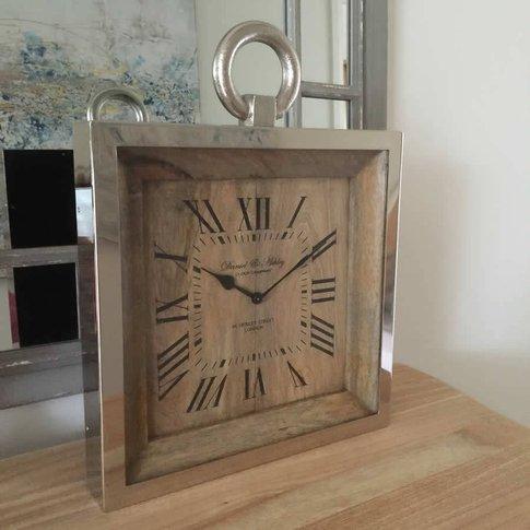Raw Nickel And Mango Wood Wall Clock