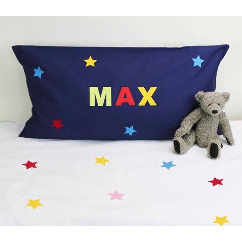 Personalised Boy's Star Pillowcase With Name, Navy/Fuchsia Pink/Fuchsia
