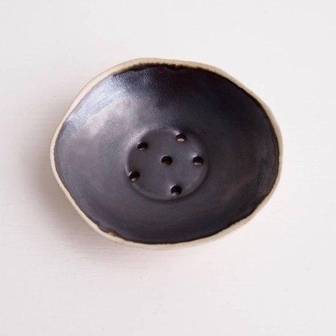 Handmade Mini Ceramic Soap Dish Black + Cream
