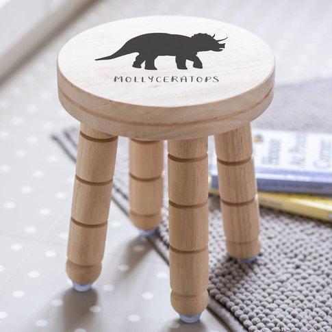 Personalised Childs Dinosaur Wood Stool