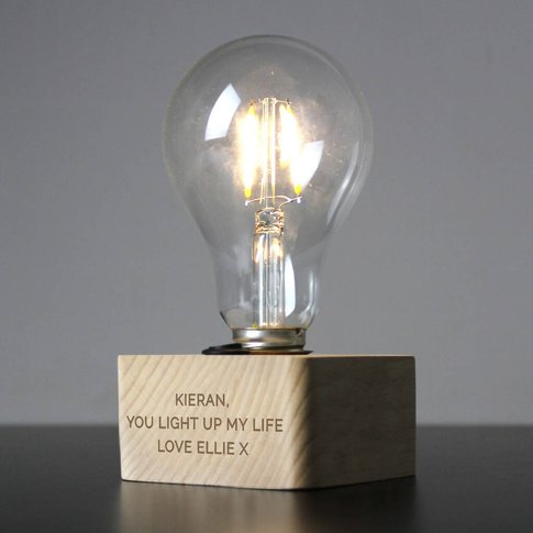 Personalised Led Bulb Wooden Table Lamp