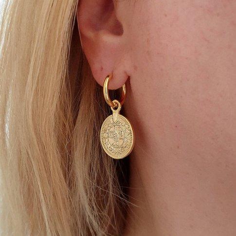 Gold Ottoman Coin Hoop Earrings, Gold