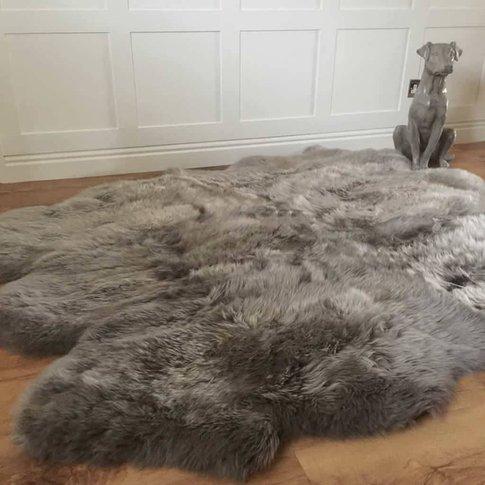 Luxury Ivory And Vole Sexto Sheepskin Rugs, Grey/Ivo...