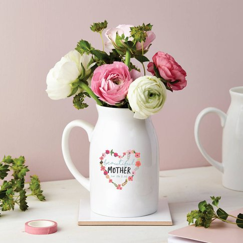 Personalised Floral Heart Small Flower Vase