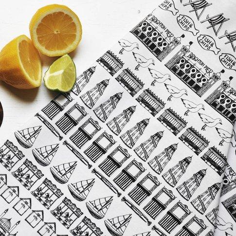 Brighton Row Illustrated Black And White Tea Towel