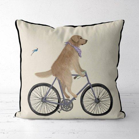 Golden Retriever On Bicycle Decorative Cushion