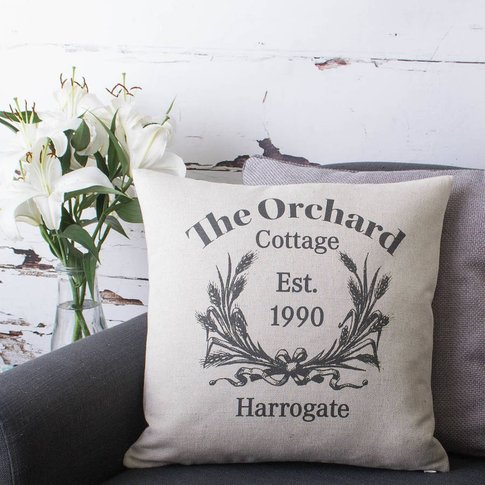 Personalised Cottage Style Cushion Cover, Black/White