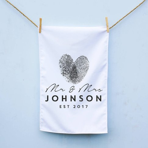 Personalised Mr And Mrs Finger Print Tea Towel