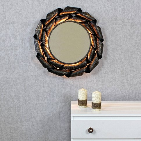 Afrodyta Antique Copper Sunburst Rays Light Wall Mirror