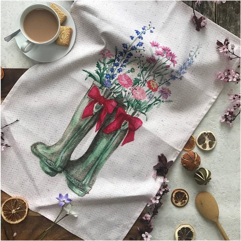 Wildflower Wellington 100% Cotton Tea Towel