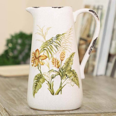 Country Flowers Pitcher Jug Vase