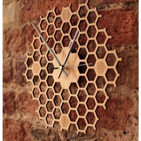 Open Hexagon Bamboo Honeycomb Wall Clock