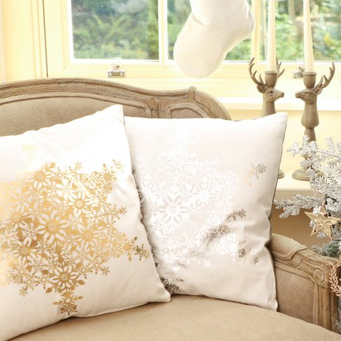 Christmas Cushions With Silver And Gold Snowflakes
