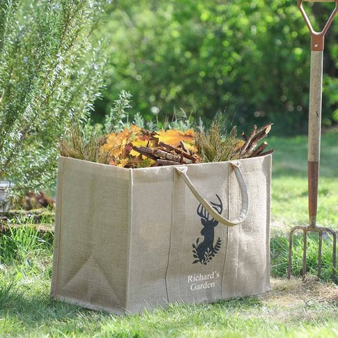 Personalised Woodland Stag Eco Garden Storage Bag