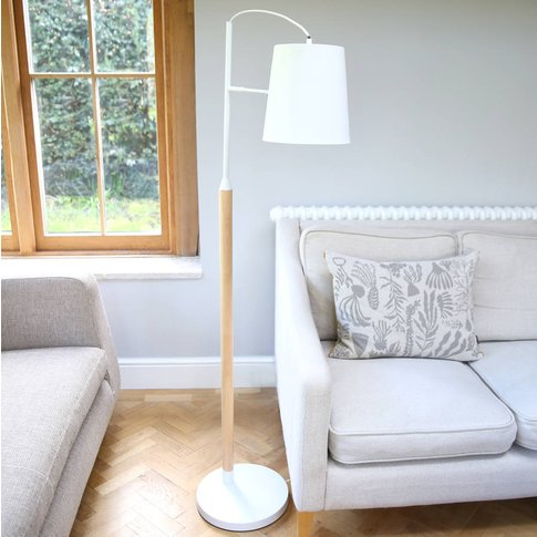 Blonde Wood And White Floor Lamp