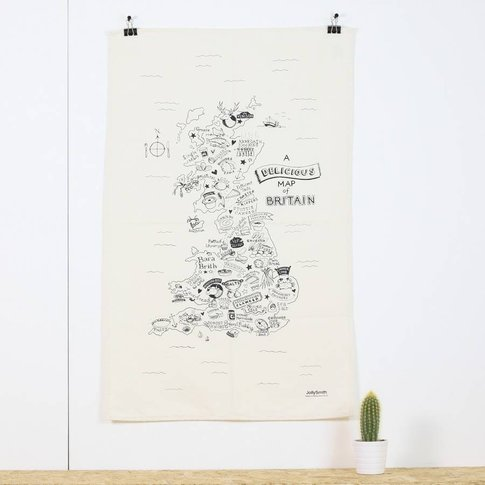 Map Of British Food Tea Towel