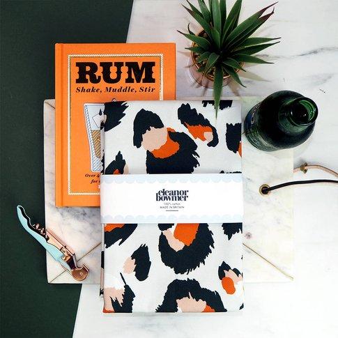 Grey And Orange Leopard Print Tea Towel