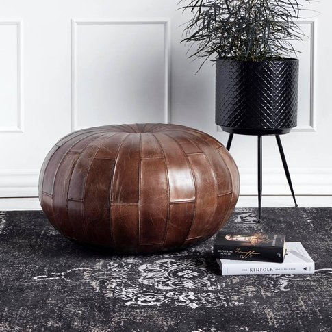 Round Antique Brown Leather Pouf