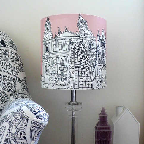 London Hand Drawn Lampshade Pink