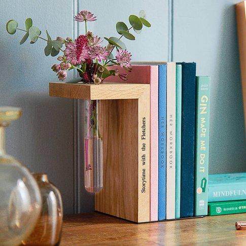 Solid Oak Personalised Bookend Stem Vase