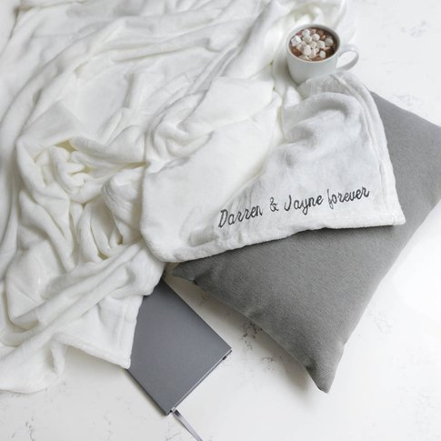 Personalised White Super Soft Blanket