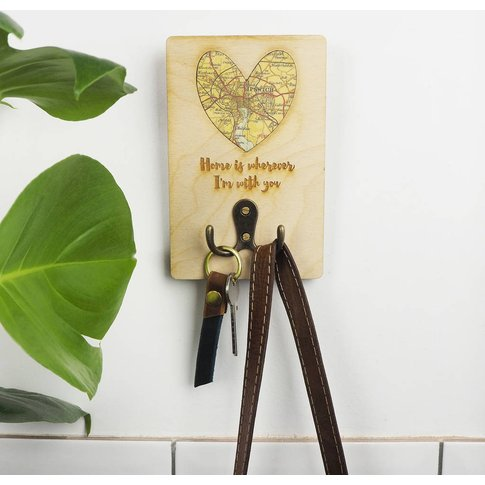 Personalised 'Home Is Wherever I'M With You' Coat Hook
