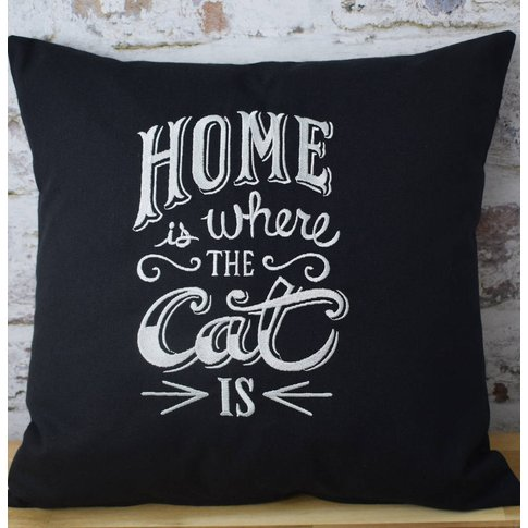 Home Is Where The Cat Is Embroidered Cushion