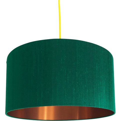 Emerald Green Silk Lampshade With Gold Or Copper Lining