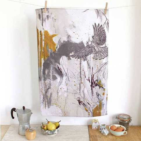 Red Footed Falcon Tea Towel