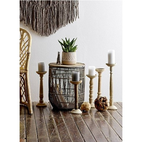 Brown Bamboo Side Table, Set Of Three