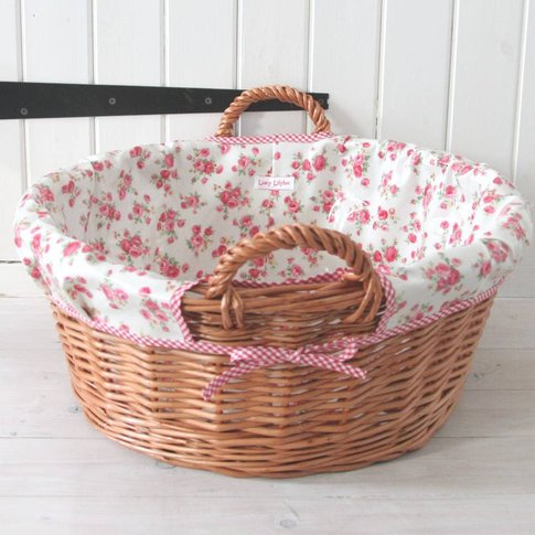 Floral Oilcloth Lined Laundry Basket, Red/Blue