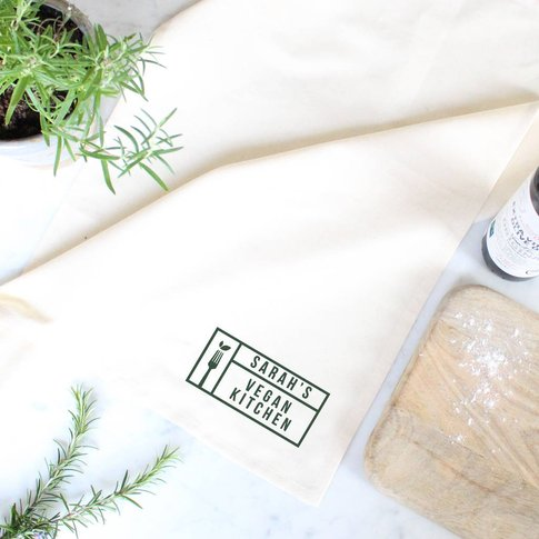 Personalised 'Vegan Kitchen' Tea Towel